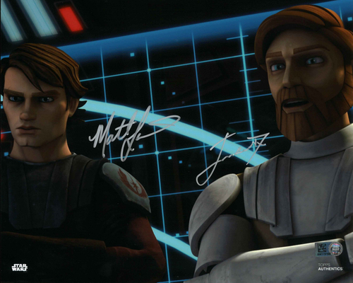 Matt Lanter and James Arnold Taylor As Anakin Skywalker and Obi-Wan Kenobi 8x10 Autographed in Silver Ink Photo