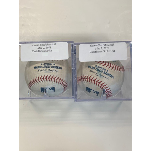 Photo of Two Game-Used Baseballs: Nicholas Castellanos Strikeout and Strike