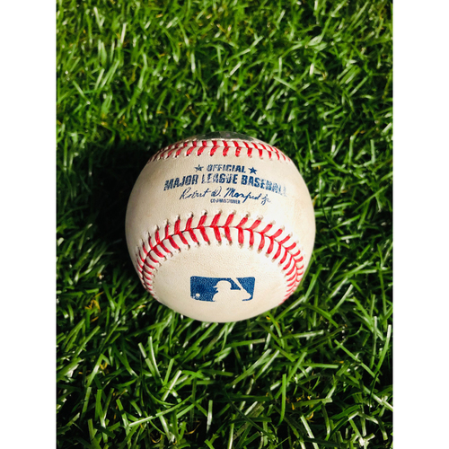 Photo of Game Used Baseball: Jake Fraley (MLB DEBUT) hit-by-pitch by Emilio Pagan - August 21, 2019 v SEA