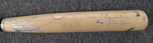 Photo of Authenticated Game Used Cracked Bat: Single by Cavan Biggio against Adam Ottavino (Aug 10, 19 vs NYY). Bottom 7. Lourdes Gurriel Jr. name on bat.