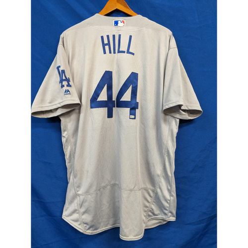 Rich Hill Game Used Road Jersey - 09/10/2016 (Pitched 7 perfect inns, striking out 9, for his 12th win of the year. Dodgers beat the Marlins 5-0.)