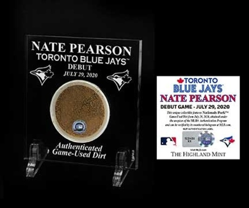 "Photo of Toronto Blue Jays 3"" by 5"" Acrylic Home Plate Stand with Game Used Dirt from MLB Debut of Nate Pearson on July 29, 2020 by Highland Mint"