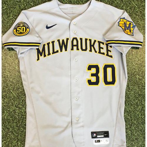 Photo of Craig Counsell 2020 Team-Issued Road Grey Jersey