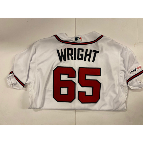 Photo of Kyle Wright 2019 Opening Day Game Used White Jersey - Worn 4/1/19