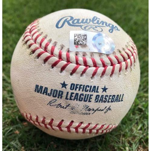 Photo of 8/4/2021 (Shohei Ohtani Started at Pitcher) - LAA @ TEX - Game-Used Baseball - P: Kolby Allard  B: Juan Lagares - 1B