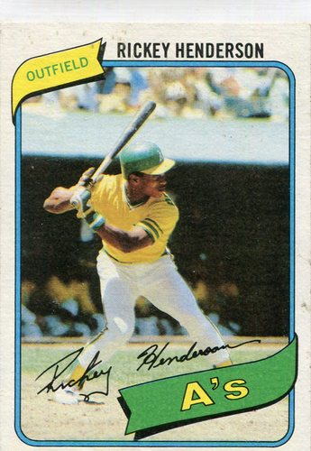 Photo of 1980 Topps #482 Rickey Henderson Rookie Card -- Hall of Fame Class of 2009