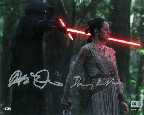Daisy Ridley as Rey and Adam Driver as Kylo Ren 8x10 Dual Autographed in Silver Ink Photo