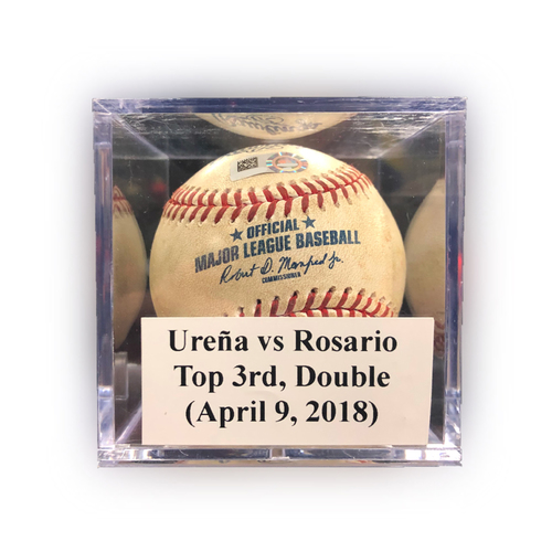 Photo of Game Used Baseball: Ureña vs Rosario, Top 3rd, Double (1) (April 9, 2018)