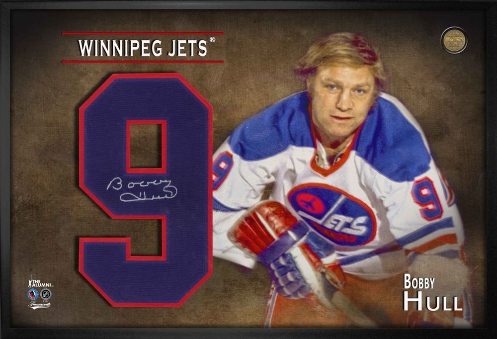 Bobby Hull Signed Jersey Number Framed Print Jets White