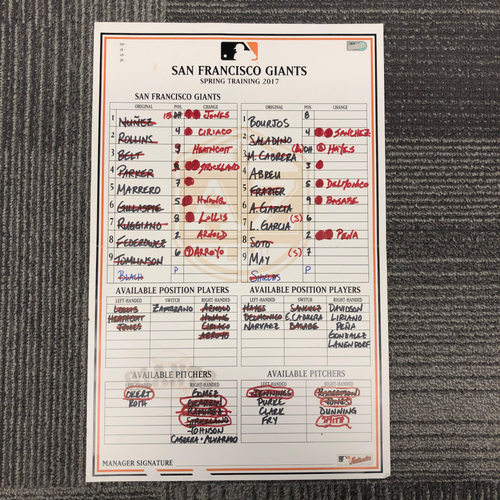 Photo of 2017 Spring Training Team-Issued Line Up Card - vs. Chicago White Sox