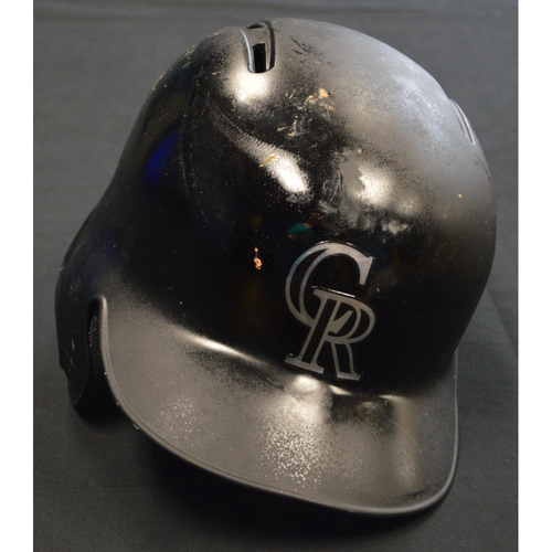 "Photo of Tony ""(Paper Emoji)"" Wolters Colorado Rockies Game-Used 2019 Players' Weekend Helmet"