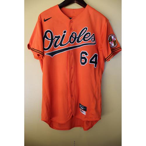 Photo of Dean Kremer - Orange Spring Training Alternate Jersey: Game-Used