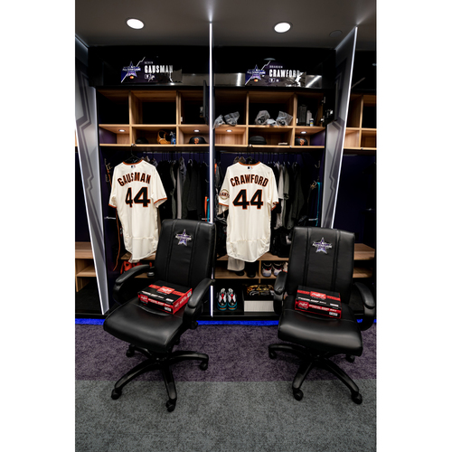 Photo of 2021 All-Star Game Clubhouse Chair Panel from Brandon Crawford's Locker Chair