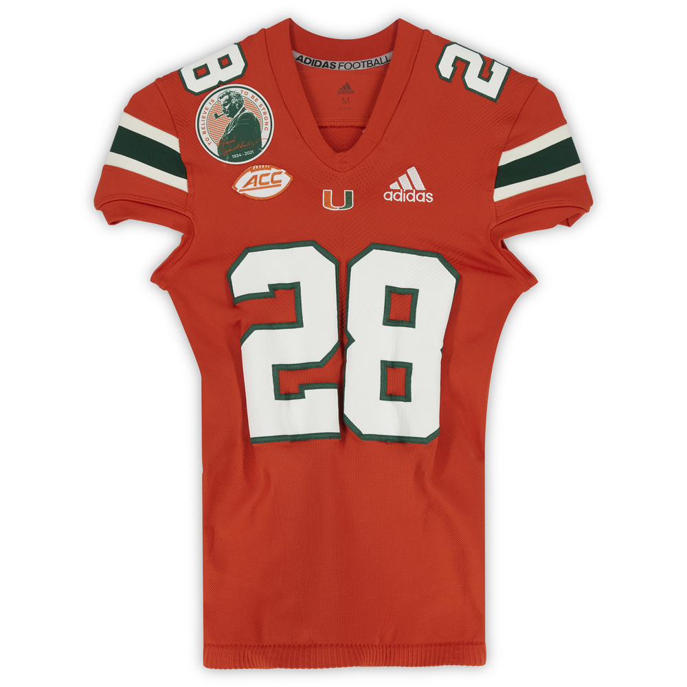 #28 Miami Hurricanes Game-Used adidas Primeknit Jersey with Howard Schnellenberger Patch vs. Virginia Cavaliers September 30, 2021 - Size M