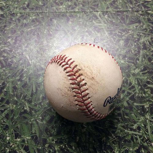 Game-Used Baseball 06/03/17 LAD@MIL - Jared Hughes to Yasiel Puig: Wild Pitch, Run Scores