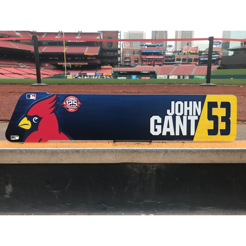 Photo of Cardinals Authentics: John Gant Team-Issued Locker Tag