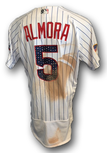 Photo of Albert Almora Stars and Stripes Game-Used Jersey -- Almora 1 Hit, 1 Walk -- Tigers vs. Cubs -- 7/4/18