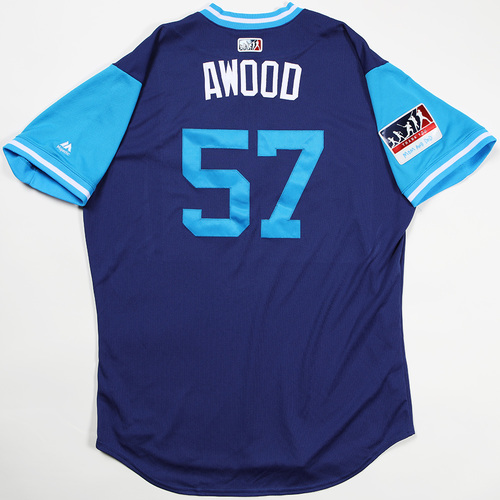"Photo of Alex ""AWood"" Wood Los Angeles Dodgers Game-Used 2018 Players' Weekend Jersey"