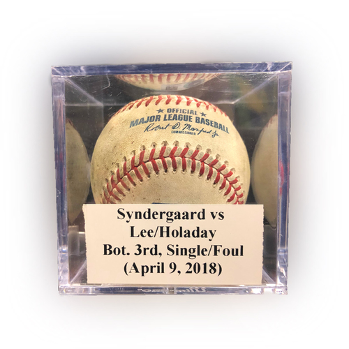 Photo of Game Used Baseball: Syndergaard vs Lee/Holaday, Bot. 3rd, Single (Lee)/Foul (Holaday) - April 9, 2018