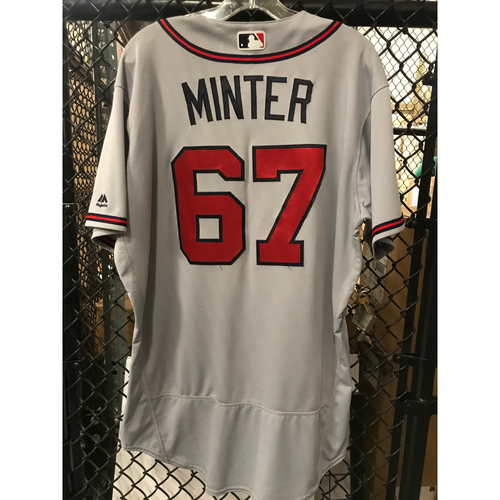 Photo of AJ Minter Game-Used Road Grey Jersey - Rookie Season - 9/25/17