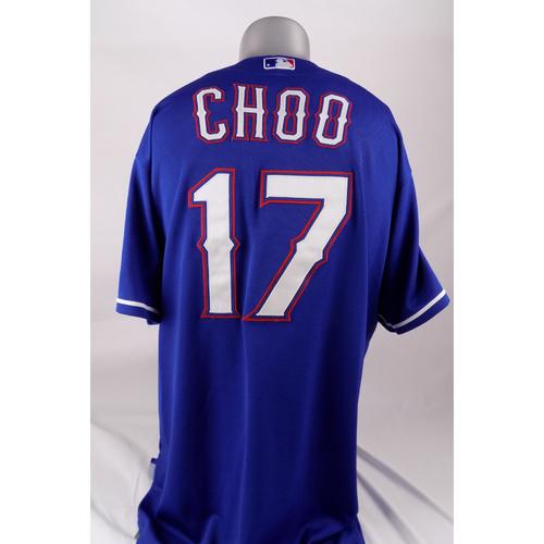 Photo of Final Season Game-Used Blue Jersey - Shin-Soo Choo - 9/6/2019
