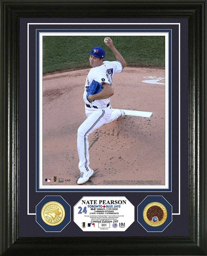 "Photo of Toronto Blue Jays 16"" x 13"" 2020 MLB Debut Frame for Nate Pearson (July 29, 2020) with Game Used Dirt Coin by Highland Mint"