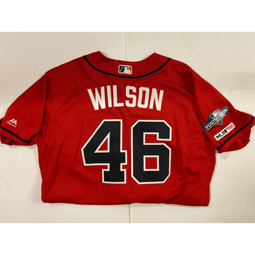 Photo of Bryse Wilson 2019 Red Game Used Jersey - Worn 8/16/19