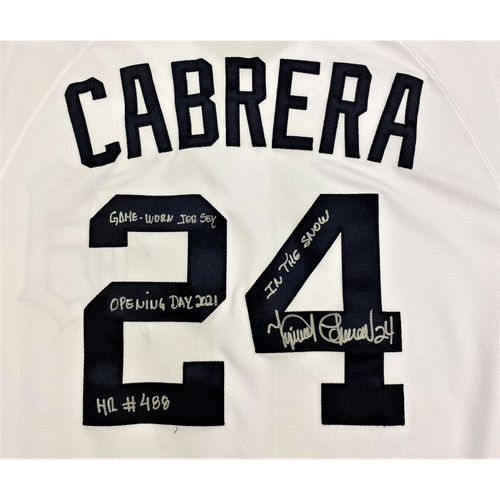 Photo of Cabrera Exclusive! Miguel Cabrera Autographed Game-Used Jersey Opening Day 2021 (HR #488) (MLB AUTHENTICATED)