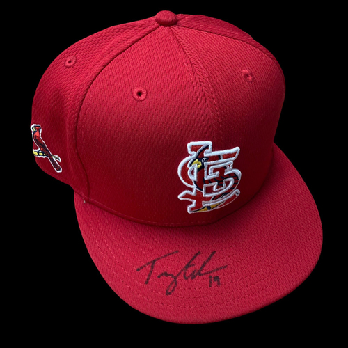 Photo of Tommy Edman Autographed Team Issued Batting Practice Cap (Size Cut Out)