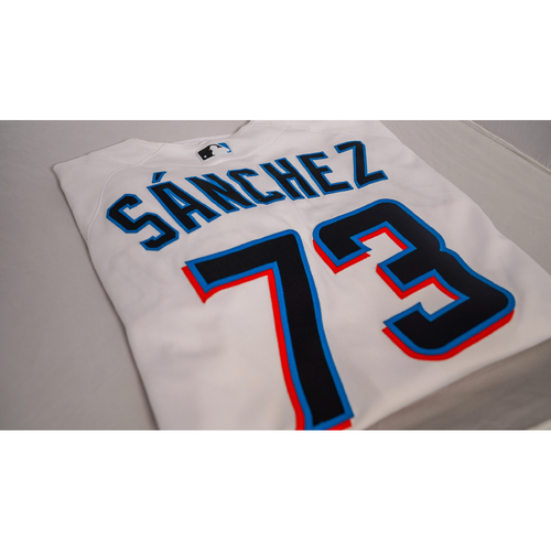 """Photo of Sixto Sanchez Game-Used Jersey with Specialty """"Hope and Justice"""" Batting Helmet Designed by Lola Blu - @lolablu_ - Jersey Size 48"""