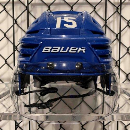 #15 Alex Kerfoot Worn Blue Bauer Helmet