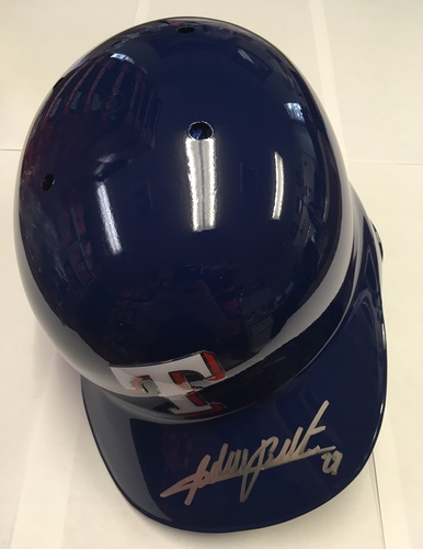 Photo of Adrian Beltre Autographed Rangers Batting Helmet