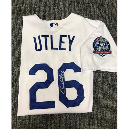 Photo of Kirk Gibson Foundation Auction: Chase Utley 2018 Game-Used Autographed Los Angeles Dodger Jersey