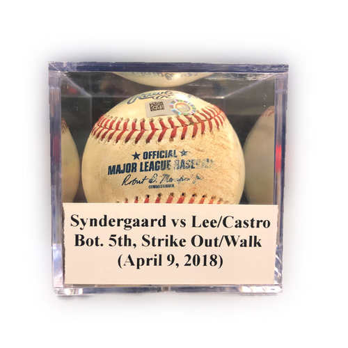 Photo of Game Used Baseball: Syndergaard vs Lee/Holaday, Bot. 5th, Strike Out (Lee)/Walk (Holaday) -April 9, 2018