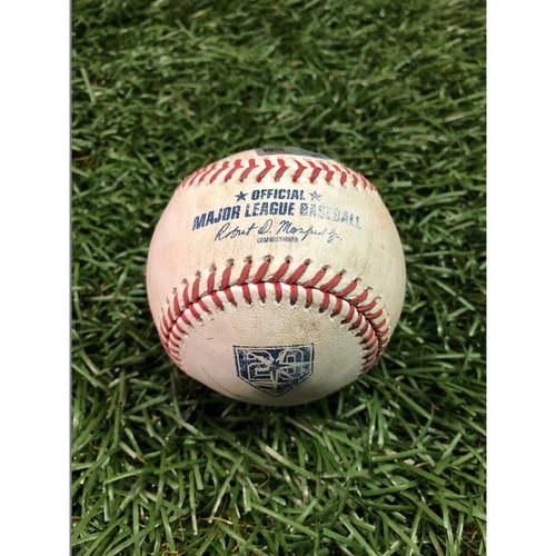 Photo of 20th Anniversary Game Used Baseball: Aaron Judge strike out and Didi Gregorius foul ball off Wilmor Font - June 23, 2018 v NYY