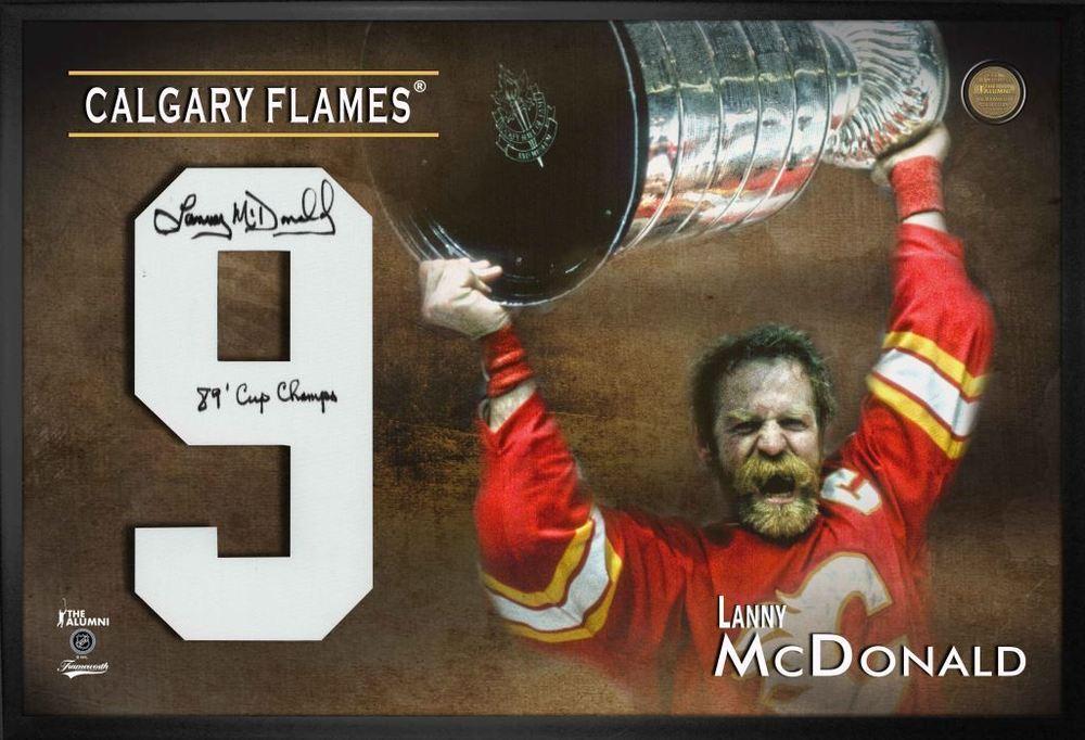Lanny McDonald Signed Jersey Number Framed Print Flames Red