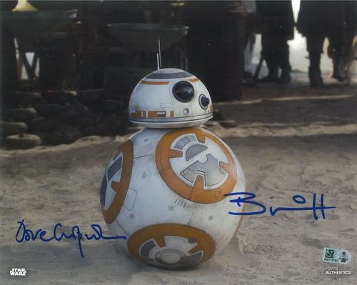 Brian Herring and Dave Chapman As BB-8 8x10 Autographed in Blue Ink Photo