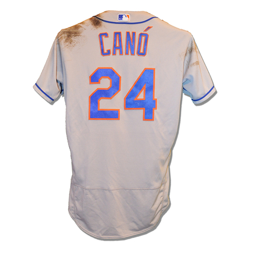 Photo of Robinson Cano #24 - Game Used Road Grey Jersey - 3-5, RBI, R - Mets vs. Nationals - 5/16/2019