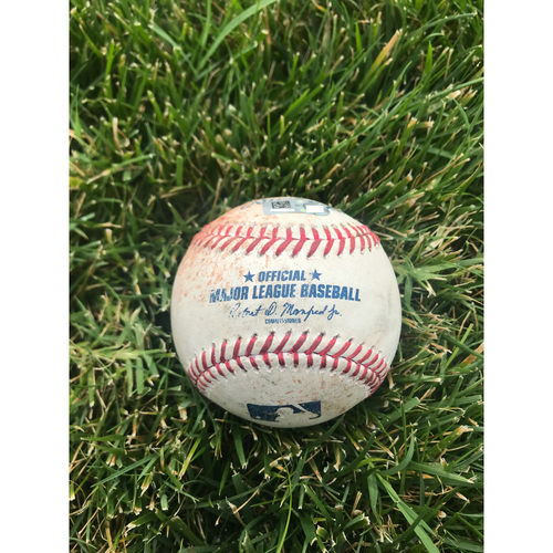 Photo of Cardinals Authentics: Game Used Pitched Baseball by John Gant to Mike Trout and Justin Upton *Trout Single, Upton Ball In Dirt*