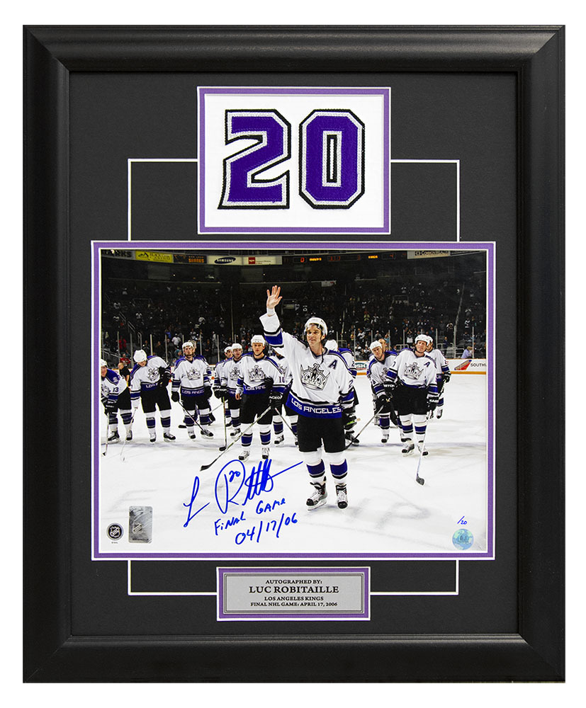 Luc Robitaille LA Kings Signed & Dated Final Game Jersey Number 23x19 Frame #/20