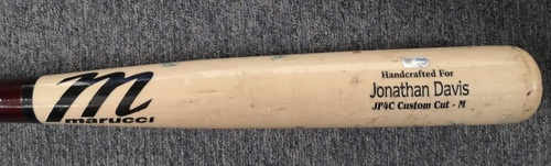 Photo of Authenticated Team Issued Cracked Bat: Jonathan Davis (2019 Season).