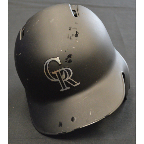 "Photo of Antonio ""Senza"" Senzatela Colorado Rockies Game-Used 2019 Players' Weekend Helmet"