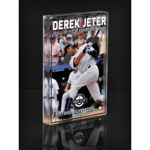 "Photo of MLB AUCTIONS EXCLUSIVE: Derek Jeter HOF ""3000th Career Hit"" Acrylic Block Collection #3 - Series of 7!"