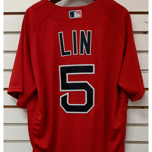 Photo of Tzu-Wei Lin #5 Team Issued Nike Red Spring Training Jersey