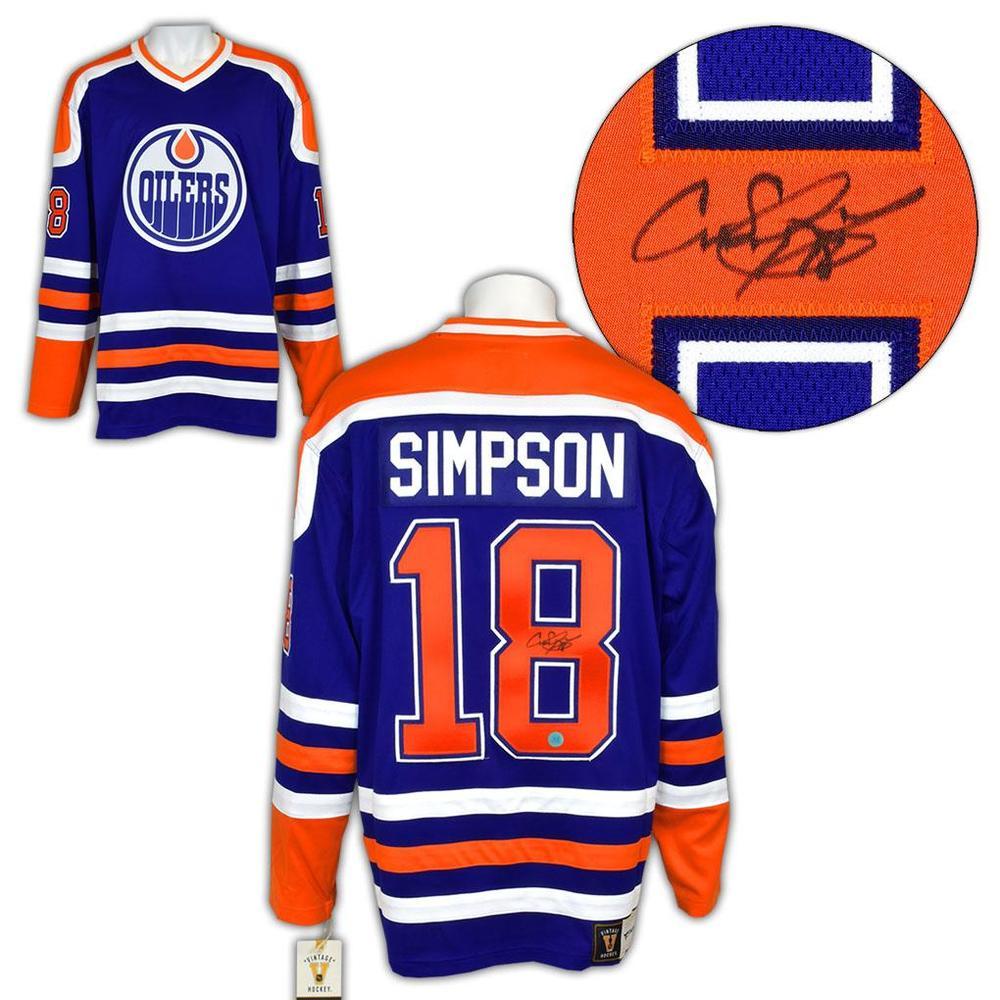 Craig Simpson Edmonton Oilers Signed Vintage Fanatics Jersey