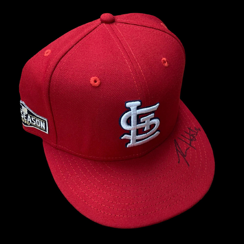Photo of Ryan Helsley Autographed Team Issued 2020 Postseason Home Cap (Size 7 3/8)