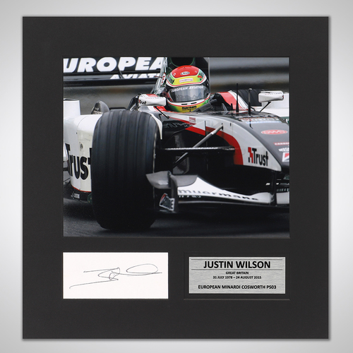 Photo of Justin Wilson 2003 Signed Mounted Photograph