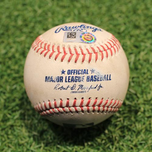 Photo of Game-Used Baseball: Framber Valdez 260th Career Strikeout (HOU@KC 8/17/21)