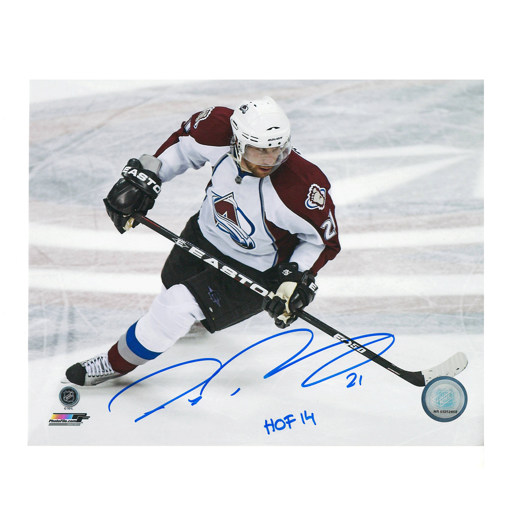 PETER FORSBERG Signed Colorado Avalanche 8 X 10 Photo w/ HOF - 70304