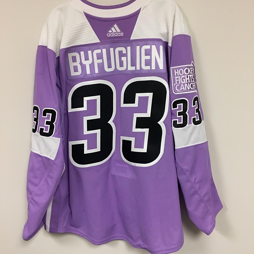 DUSTIN BYFUGLIEN (A) Autographed Warm Up Worn Hockey Fights Cancer Jersey